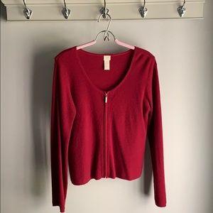 J. Jill 100% Cashmere Zip Cardigan Sweater Size M